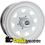"Dynamic 15x10"" Triangle Sunrasia Style Hole 4X4 Steel Wheel 6x139.7 -44 White"