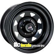 "Dynamic 15x7"" Triangle Hole Commodore Trailer Steel Wheel 5x120 +25 Black"
