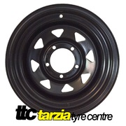 "Dynamic 16x8"" Triangle Sunrasia Hole Commodore Steel Wheel 5x120 +30 Black CB 70.1"
