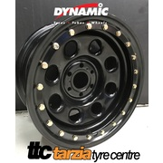 "Dynamic 16x8"" Soft 8 Imitation Beadlock 4X4 Wheel 6 x114.3 +20 Black Navara"