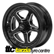 Street Pro ll 15 x 6 Inch Early Holden Chev Bolt 5 x 4.25 3.5 inch Back Space Black