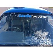 Tarzia Tyre Centre Window Banner White with Blue Insert