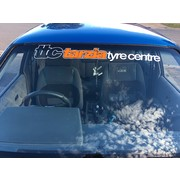 Tarzia Tyre Centre Window Banner White with Orange Insert