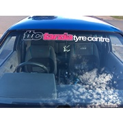 Tarzia Tyre Centre Window Banner White with Pink Insert