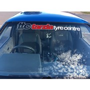 Tarzia Tyre Centre Window Banner White with Red Insert
