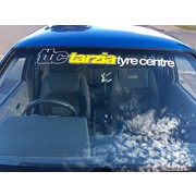 Tarzia Tyre Centre Window Banner White with Yellow Insert