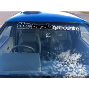 Tarzia Tyre Centre Window Banner White with Black Insert