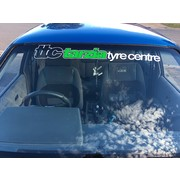 Tarzia Tyre Centre Window Banner White with Green Insert